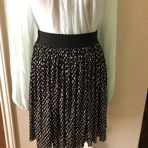 Vince Camuto Black White Skirt Mini Pleat Lined Sm